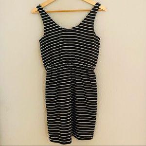 Loft. Black and White Stripe Mini Dress XS